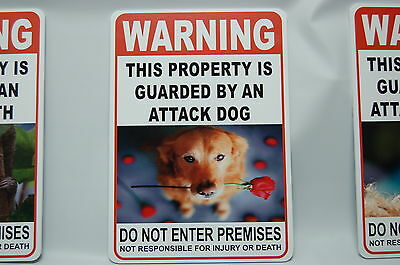 WARNING ATTACK DOG Pet Guard on Duty sign lettering yard security Property