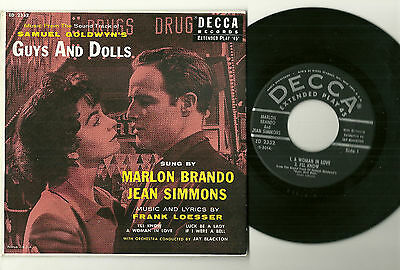 """GUYS AND DOLLS, Marlon Brando & Jean Simmons 45rpm 7"""" EP w/picture cover, VG++!"""