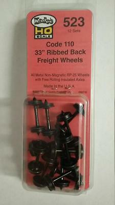 "Kadee 523 Metal Wheels HO Scale 33"" Ribbed Back Code 110 Wheel Sets Model Trains"