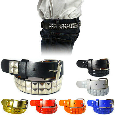 Boys Girls Studded Leather Belt Solid Removable Metal Buckle Childrens Kids S-XL
