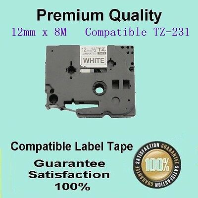 LAM 3 label tape COMP FOR Brother TZ231 TZ-231 P-Touch Black Text On White 12mm