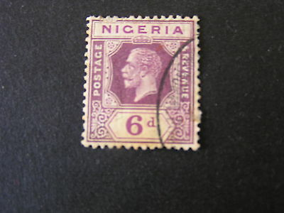 NIGERIA, SCOTT # 28, 6p. VALUE DULL VIOLET KGV 1921-33 DIE II ISSUE USED