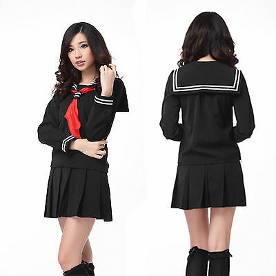 Japanese High School Uniform Sailor Lolita Cosplay Costume Black Fancy Dress