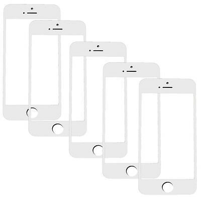 5x lot Replacement Front Outer LCD Screen Lens Glass for White iPhone 5 s c SE