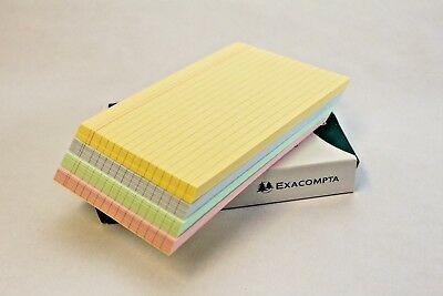 """ASSORTED COLOURED LINED REVISION RECORD INDEX FLASH CARDS 6"""" x 4"""" (100 x 150mm)."""