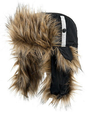 Halvarssons Furry Pile Deerstalker Style Warm Ski Snow Hat Black