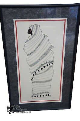 Vintage Signed African Woman Print 1994 Framed and Matted 1/45 Limited Edition