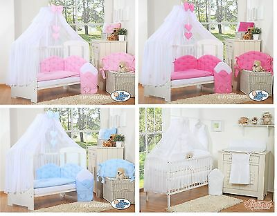NEW LARGE MOSQUITO NET CANOPY DRAPE + BOW & HEARTS or STARS + HOLDER / STAND