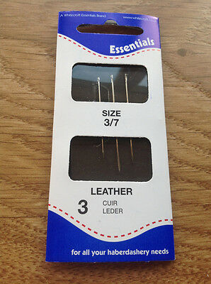 3 HAND SEWING LEATHER NEEDLES SIZE 3/7 whitecroft essentials