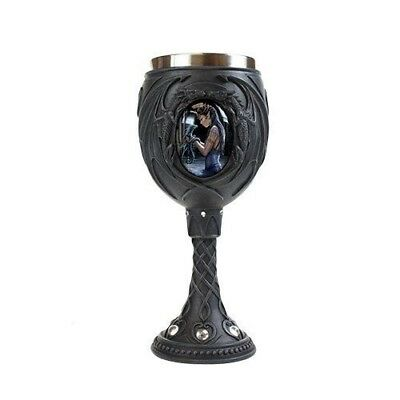Beverage Goblet By Designer Anne Stokes Water Dragon and Princess Fairy Fantasy