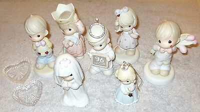 Lot of 7 Enesco PRECIOUS MOMENTS Figurines BRIDE PEACE ON EARTH MOM etc Retired