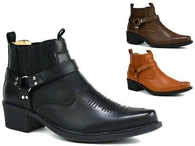 Brand New Men  Cowboy Ankle Cuban Heel Gusset Boots Uk Sizes