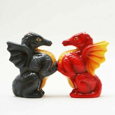 Decorative Salt Pepper Shakers Kitchenware Ceramic Onyx and Flame Dragon Couple