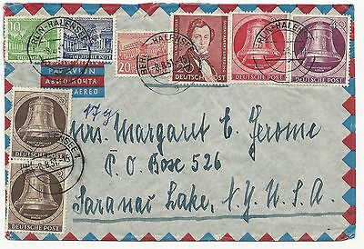 Germany Scott #9N70 x2, 9N72, 9N74, 9N126, 9N128, 9N131 on Air Mail Cover Berlin