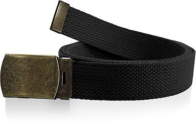 Plain Canvas Military Web Belt Black or Brass Metal Roller Buckle Mens Womens