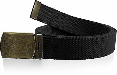 Plain Canvas Military Web Belt Solid Black Metal Roller Buckle Mens Womens New