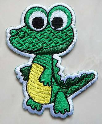 Pretty Cute Crocodile Cartoon For Kids Embroidered Iron on Patch Free Shipping