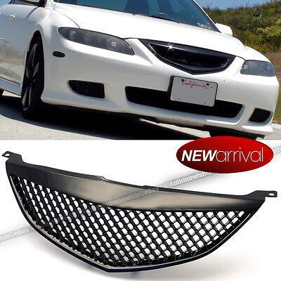Fit 03-05 Mazda 6 PLASTIC GLOSS BLACK HONEYCOMB MESH FRONT HOOD GRILL GRILLE