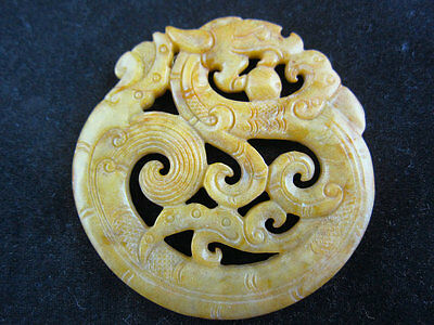 0164 Chinese hongshan style Jade topaz carving double-sided dragon pendant 51g