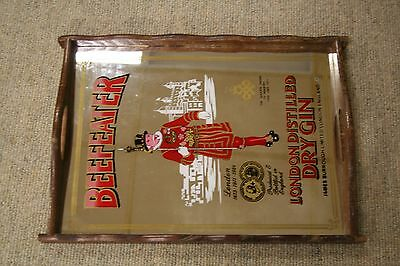"""Vtg 1971 Beefeater Gin Mirrored Tray~16"""" x 11.5""""~Wood & Glass~Good Condition"""