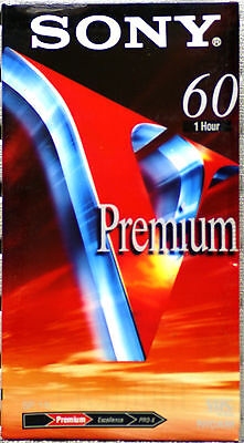 SONY E-60VG Preium Grade VHS Blank Tape New & Sealed 60 minutes