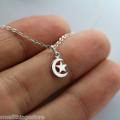 CRESCENT MOON AND STAR NECKLACE - 925 Sterling Silver Celestial Moon Horoscope