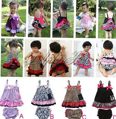 2PCS Girls Baby Infant Cute Ruffles Top+Pants Set Bloomers Outfits 6-24 Months