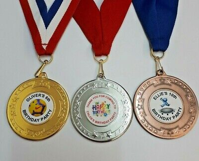 10 x PERSONALISED BIRTHDAY PARTY MEDALS AND RIBBON. FOOTBALL/ANY THEME PARTY BAG