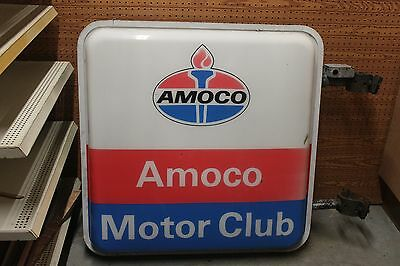 VINTAGE LIGHTED AMOCO SIGN 2 Sided Outside Mounted 38 inches square  MOTOR CLUB