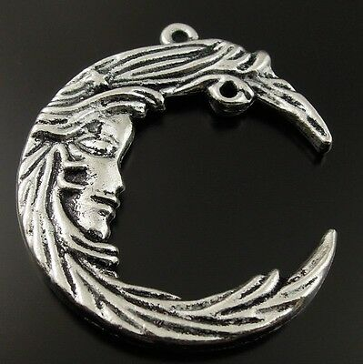 9pcs Antique Style Silver Tone Alloy Crescent Stars Moon Pendant Charms 35mm