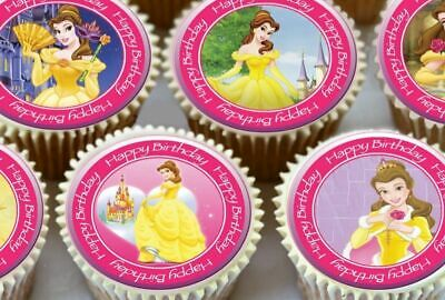 24 x PRINCESS BELLE TOPPERS PARA CUPCAKE COMESTIBLES ROSAS,