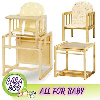 Baby Wooden high Chair  3 in 1 with cushion & harness play table - highchair