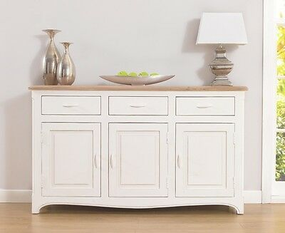 Adele French Painted Acacia Room Furniture Sideboard with 3 Doors & 3 Drawers