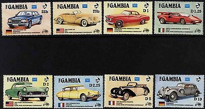 Vintage Automobiles Gambia #620 - 627 Mint NH Complete Set of 8 Old Car Stamps