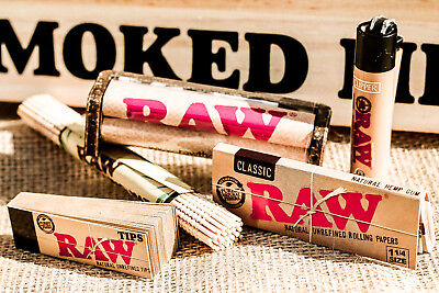 RAW classic 1 1/4  Rolling Papers+ raw 79mm RAW ROLLER+raw tips+bamboo mat+light