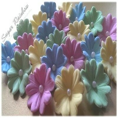 20 Edible sugar flowers blossoms for cake cupcake toppers decorations pastel