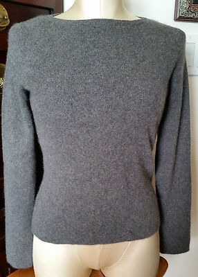 Daniel Bishop 100% Cashmere Charcoal Gray Long Sleeve Ribbed Knit Sweater- sz S