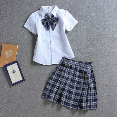 Girls Sailor School Uniform White Shirt BlousePlaid Skirt Cosplay Costume S-XL