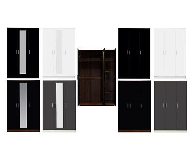 REFLECT 3 Door Soft Close High Gloss Plain Mirrored Wardrobe available 4 Colours