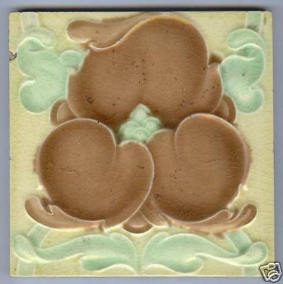 Original Antique Art Nouveau Majolica tile BROWN FLOWER