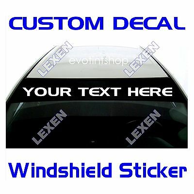 Custom Text Windshield Decal Only for the Sun Visor Strip Area a