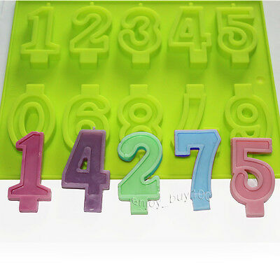 Numbers Candle Candy Silicone Mold for Birthday Cake Ice Cream Decoration