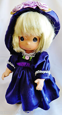 "Precious Moments Violets 12"" Violets are Blue Doll Collectible 2002  stand & tag"
