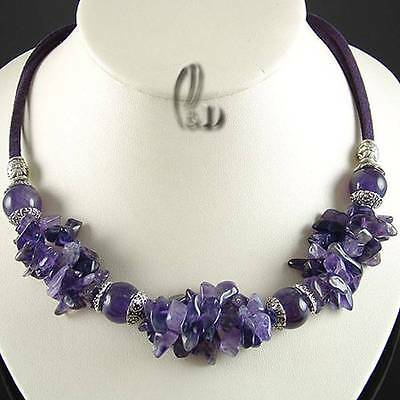 AU SELLER Chic Natural Amethyst&Tibet silver Necklace 010704