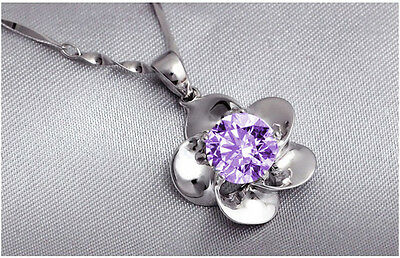 925sterling silver fashion flower crystal pendant lady's necklace chain purple J