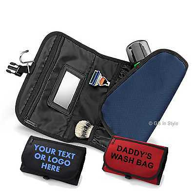 PERSONALISED Wash Bag Toiletry Make Up Mens Hanging Folding Travel Mirror Gift