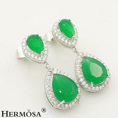 Fantastic AAA Natural Green Emerald Drop 925 Sterling Silver Prom Earrings