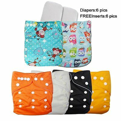 6 Cloth Diaper All In One Pocket Diaper with Liners