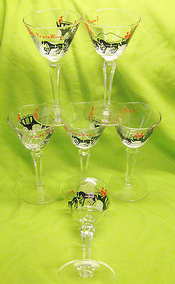 6 Libbey Champagne Glasses Horses Mid Century Vtg 4 ozs Smooth Traveling