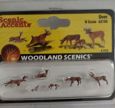Deer (6) #2185 N Scale Woodland Scenics figures animals Model Trains Diorama